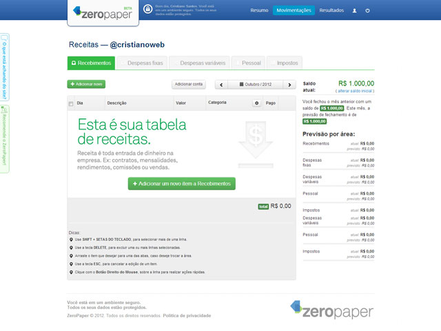 Tela principal do site ZeroPaper