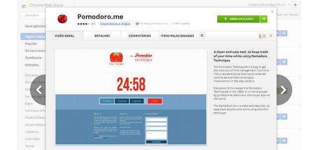 """Extensão para Chrome """"Pomodoro.me"""""""