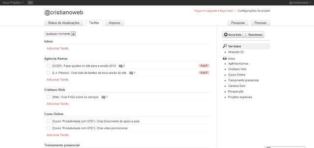 Wedoist: Visualize todas as tarefas ou filtradas por listas