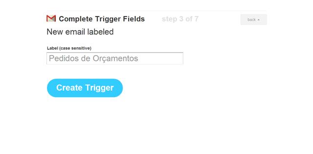 """Preencha a descrição """"Pedido de Orçamento"""" e clique no botão """"Create Trigger""""."""