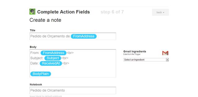 """Personalize o conteúdo que será salvo no Evernote e clique no botão """"Create Action""""."""