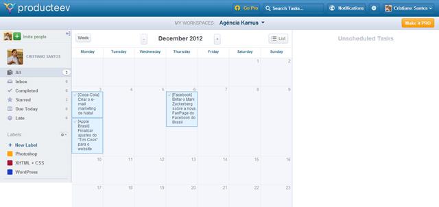 Excelente visualização das tarefas em formato de calendário