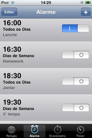 Meus atuais 8 alarmes sonoros no iPod.