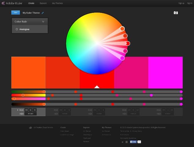 Color wheel Color schemes Adobe Kuler
